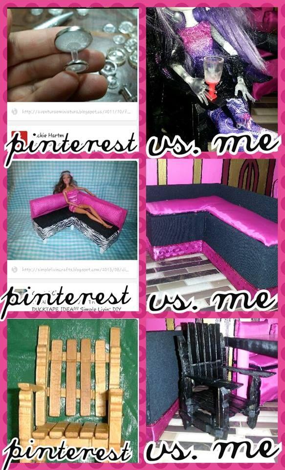 push pin + pencil cap = barbie wine glass http://aventuraeminiatura.blogspot.ca/2011/10/falando-com-meus-botoes-por-rose-favero.html  some cardboard & fabric = Barbie sectional http://simplelivincrafts.blogspot.ca/2013/08/diy-barbie-doll-furniture.html?m=1  Clothes pins+Hot glue =Barbie dining chair http://www.julieoldcrow.com/tutorials/lawnchair/pinchairchris.htm