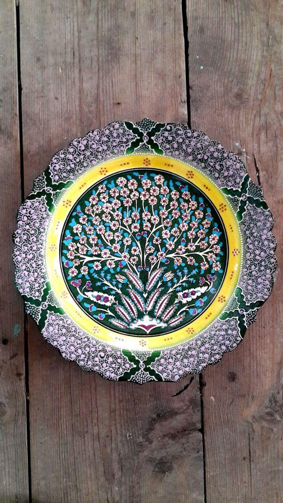 Hand Made Turkish Ceramic Plate / Wall Decor / iznik by Turqu50, $145.00