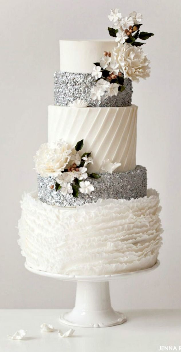 A frilly and flirty wedding cake design with fabulous silver sequins that glitter   Inspired by The Nutcracker ballet