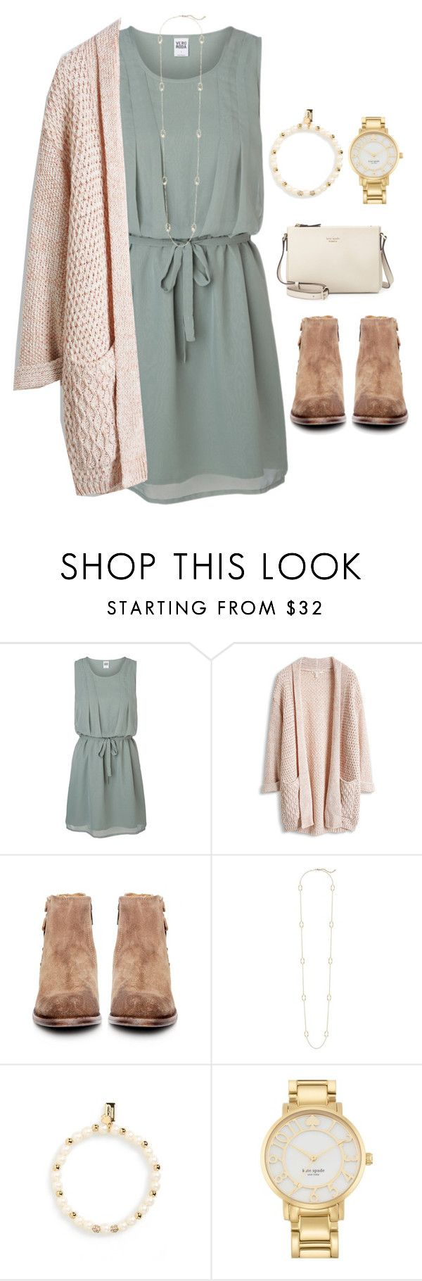 """""""My heart is at peace, for Greater is He"""" by madelynprice ❤ liked on Polyvore featuring Vero Moda, H by Hudson, Kendra Scott and Kate Spade"""