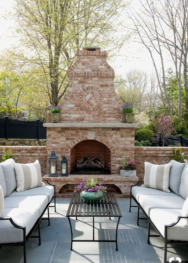 7 best outdoor brick fireplaces images on Pinterest ... on Brick Outdoor Fireplace Ideas id=75255
