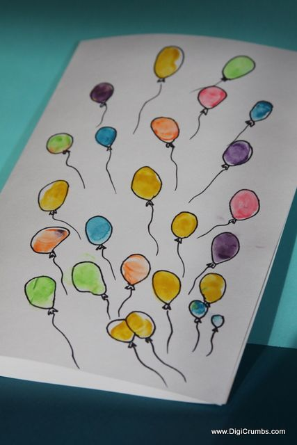 Balloon FingerPrint Art Birthday Card!