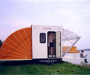 """Originally conceived as a mobile home, this awesome """"De Markies"""" project by Böhtlingk architecture was awarded the Public Prize at the Rotterdam Design Prize 1996. T: Ideas, The Roads, Mobiles Home, De Marki, Outdoor, Camps Trailers, House, Cool Campers, Design"""