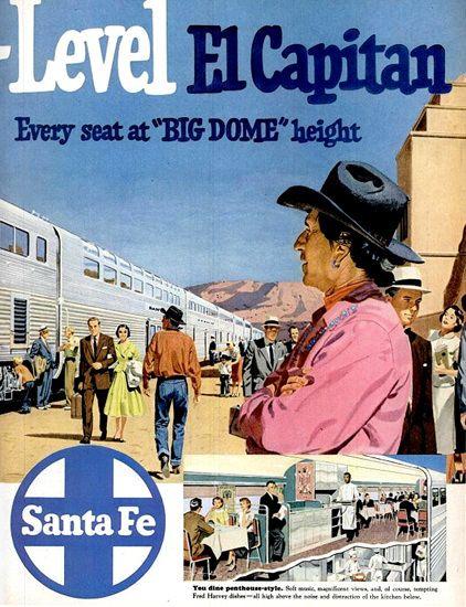 Santa Fe New Hi Level El Capitan 1950s - www.MadMenArt.com features over 400…