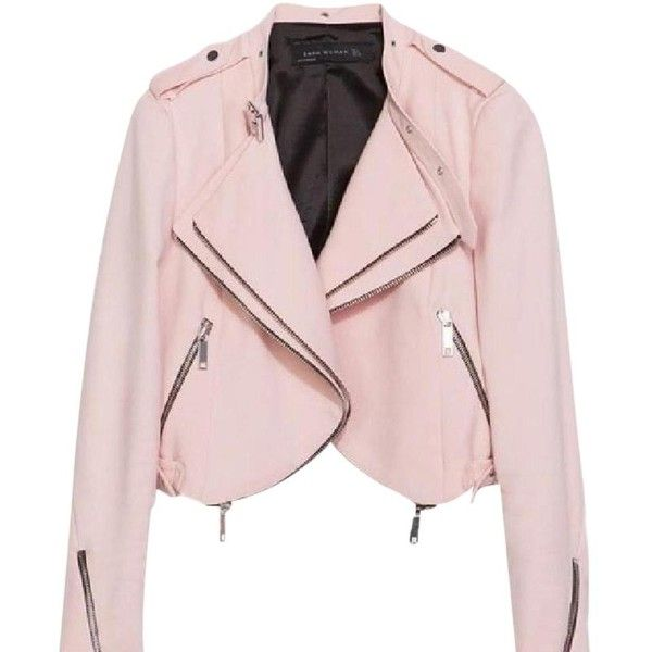 Zara Motorcycle Jacket ($134) ❤ liked on Polyvore featuring outerwear, jackets, pink moto jackets, blazer jacket, light pink jacket, moto jacket and pink biker jackets