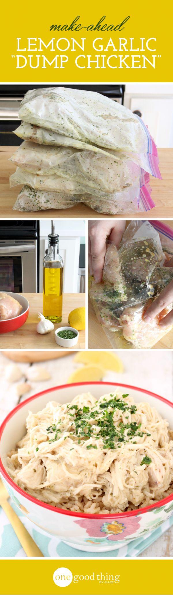 Lemon Garlic Dump Chicken -- freezer, slow cooker, or bake