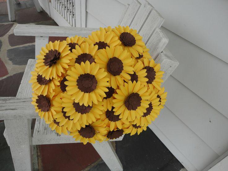 Paper Sunflower Bouquet - 24 Loose Sunflowers Floral Arrangement by PoshStudios on Etsy https://www.etsy.com/listing/153358537/paper-sunflower-bouquet-24-loose