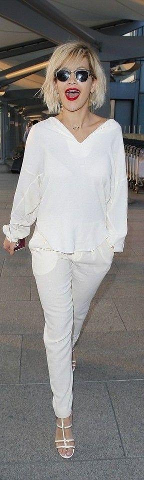 Rita Ora in all white outfit