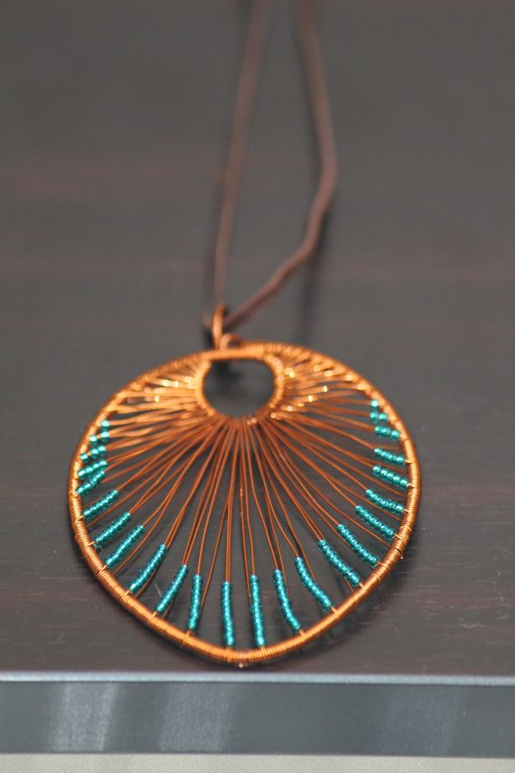 Leaf shaped copper wire necklace pendant with by DeaJewelleryStore