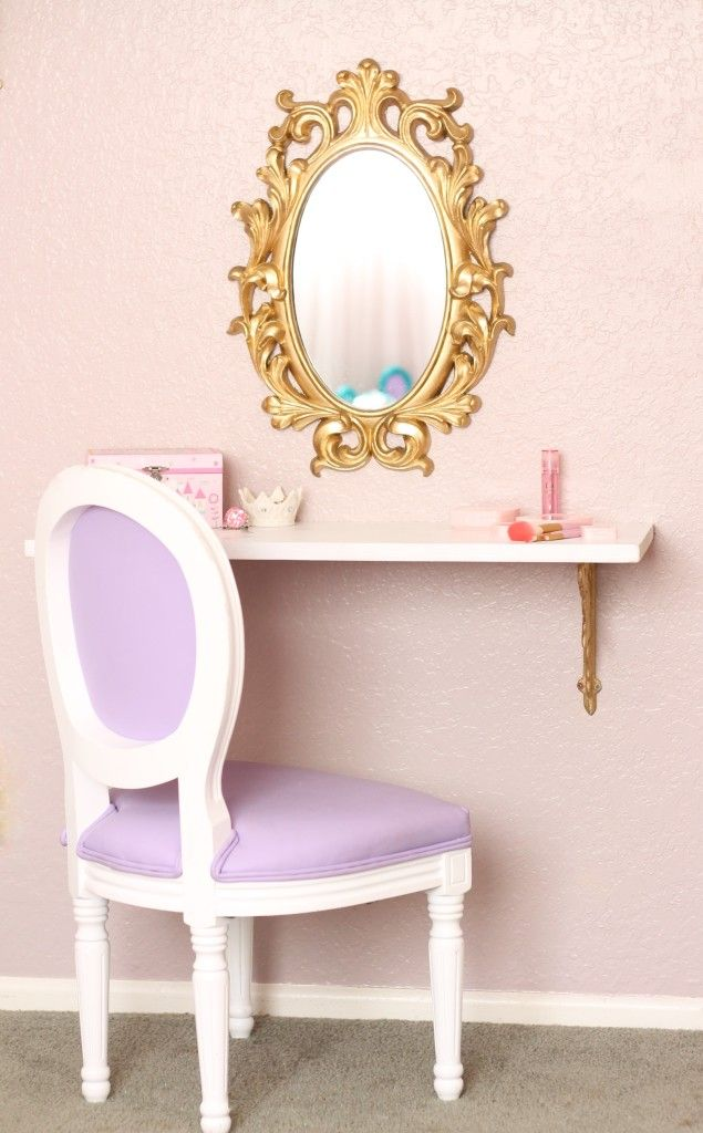 "Perfect ""Vanity"" for a Big Girl Room - just use a pretty wall shelf with gold brackets, a fun mirror and sweet chair. Ta-da!"