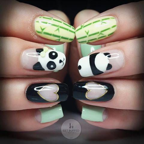 😍🐼 Panda Time 🐼😍  My lovely model/client @amandaleeioannou is off to China to visit some Panda's!! 🐼 So of course we had to show some Panda love!! I'm not jealous at all 😔 Have a fantastic time xx #pandanails #naturalnails #handpainted #bamboonailart #getbuffednails #getbuffednails #nails #nailart #notd #instanails #ignails #nailprodigy #gellyfit #gelpolish from @gellyfitaustralia 🎀 #nailtech #melbournenailart #noshrinkage 💅🏼