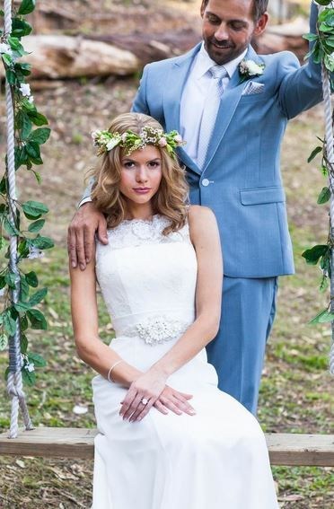 Wedding hair. Beautiful engagement ring featured in this stunning wedding photography. Jewellery by Paradise's Facet 58 Jewellers (www.paradisesfacet58.com.au), Gown by Pearl Bridal, Flowers by Gold Coast Florist