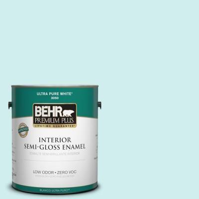 BEHR Premium Plus 1-gal. #490A-1 Teal Ice Zero VOC Semi-Gloss Enamel Interior Paint-305001 at The Home Depot