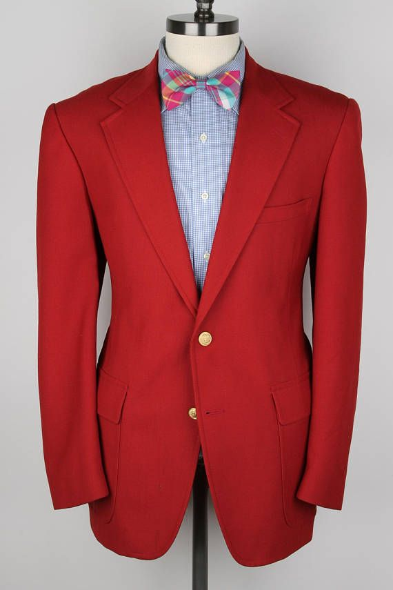 Red Weave Gold Btn Jacket Hardwick Clothes Wool Blend 44 R