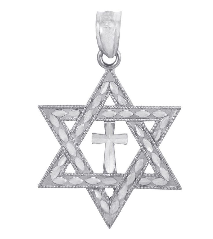 White Gold Jewish Star of David and Cross Charm Pendant #CladdaghGold #Pendant