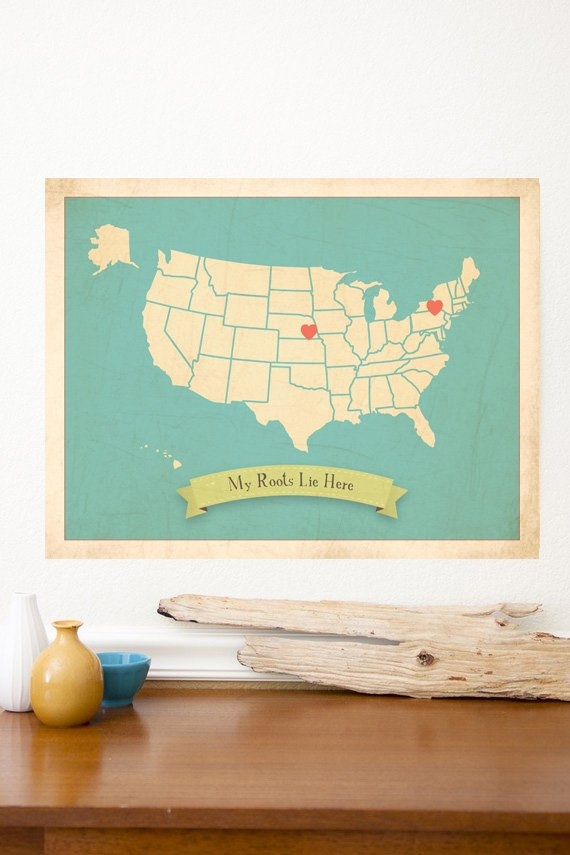 My Roots USA map Children Inspire Design- tells the story of where a family's roots lie, whether it's ten or ten thousand miles away.  This is the perfect give for newlyweds or a new baby:)    18x24 $50