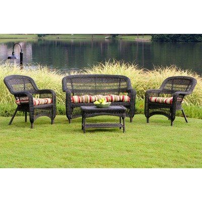 "Portside 4 Piece Seating Group Fabric Color: Eastbay Pompeii, Finish: Dark Roast by Tortuga Outdoor. $599.00. PS4S-DK RST EASTP Fabric Color: Eastbay Pompeii, Finish: Dark Roast Features: -All-weather wicker.-Durable powder coated steel frames.-Unlike natural wicker, all-weather wicker is stain, water, UV, crack and split resistant. Includes: -Set includes: 2 Chairs, 1 table and 1 loveseat. Dimensions: -Chair dimensions: 35"" H x 27"" W x 29"" D.-Loveseat dimensions: ..."