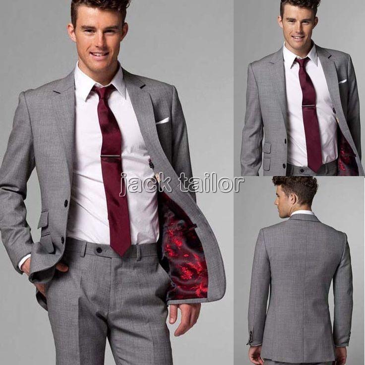 Custom Made Slim Fit Light Grey Suits Business Suit Wedding Groom