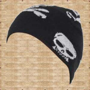 A black cotton skull beanie with many white skulls and skulls and crossbones. The White Skull and Crossbones Beanie by Queen of Darkness in the Skulls and Dragons accessories range.    Weight : 20.00g    Made from cotton    Ref : SDACP00107   Price : 4.99 GBP