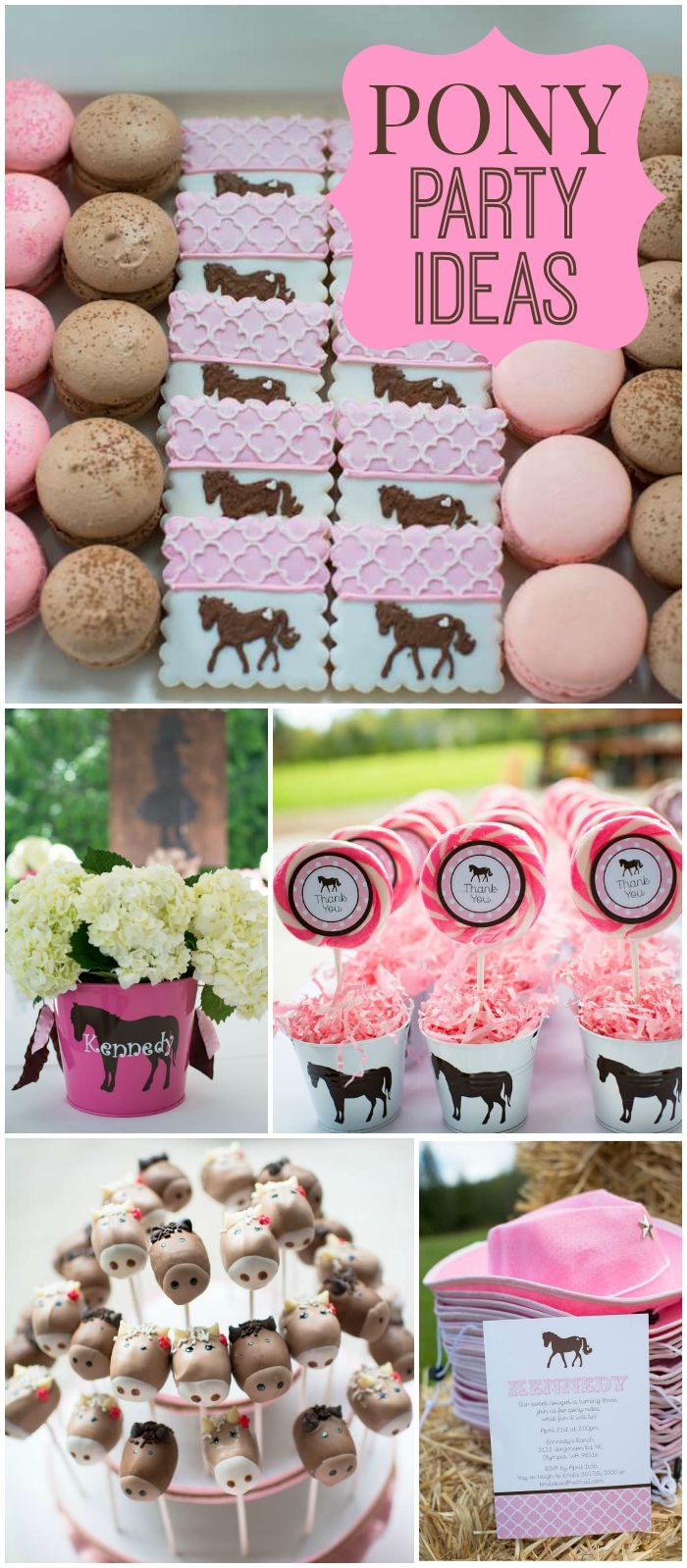 Here's a pony themed party with a pink cake and adorable cake pops! See more party ideas at CatchMyParty.com!