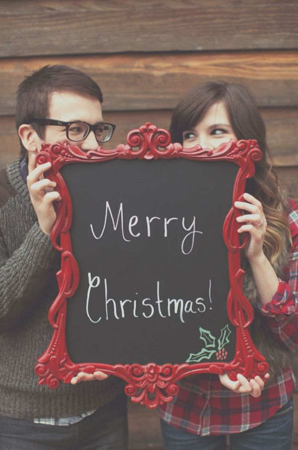 Fun Christmas Card photo - Really cute couples photoshoot - would work for a family photo and add the year on the chalk board.