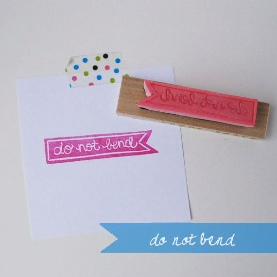 Hand Carved Do Not Bend Rubber Stamp by FreshBakedPaperGoods, $9.00