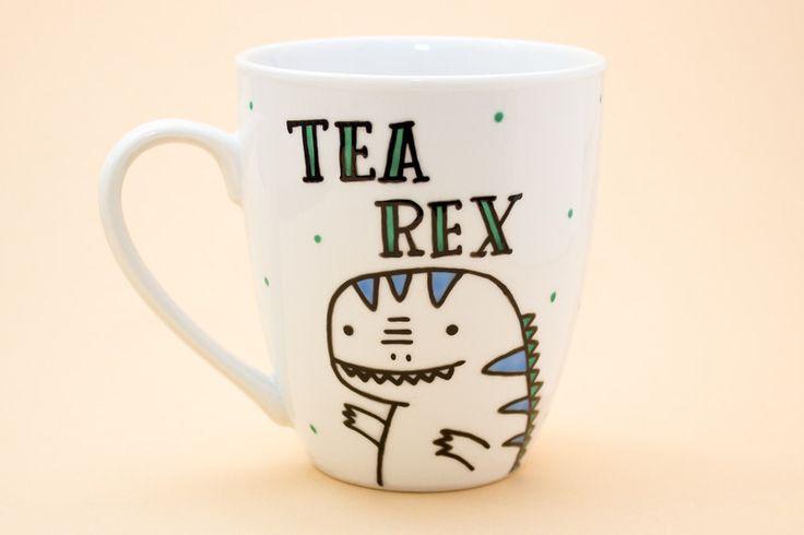Becher & Tassen - Tea Rex - ceramic mug - Hand decorated! - ein Designerstück von handwrittenmugs bei DaWanda