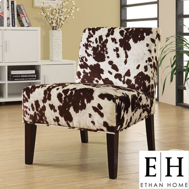 ETHAN HOME Decor Cowhide Fabric Chair | Overstock.com What I will do with my cow hide