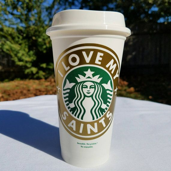 I Love My Saints Starbucks Reusable by FavorDesignsBoutique