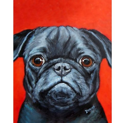 Pug Art Print, Original Acrylic Painting, Vertical Pug Dog ...