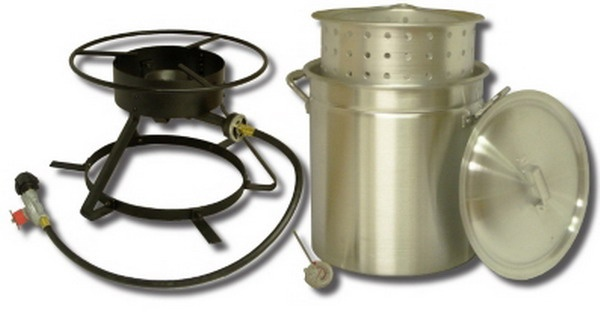 Boiling and Steaming Cooker Package w/50qt. Pot & Steam Basket. This combo comes with everything you need for your next outdoor party. Our extra large pot is great for boiling lobster, crab or for large groups. Available soon on our website at www.cajunoutdoorchef.com