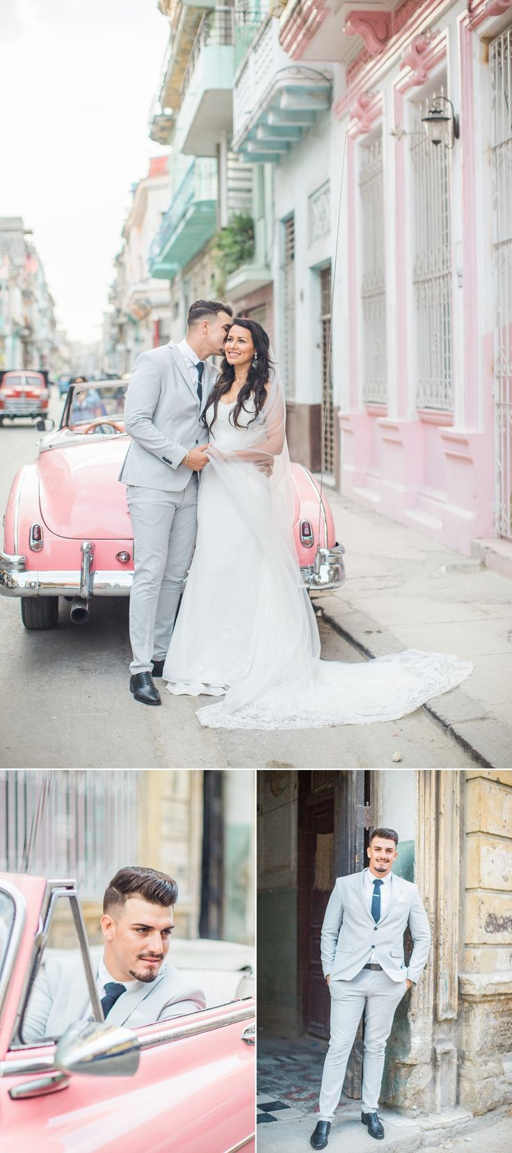 Cuba Real Wedding, Vintage old car Havana Wedding, Pastel Colors in Havana Cuba, Havana Wedding Photographer www.ayenianour.com