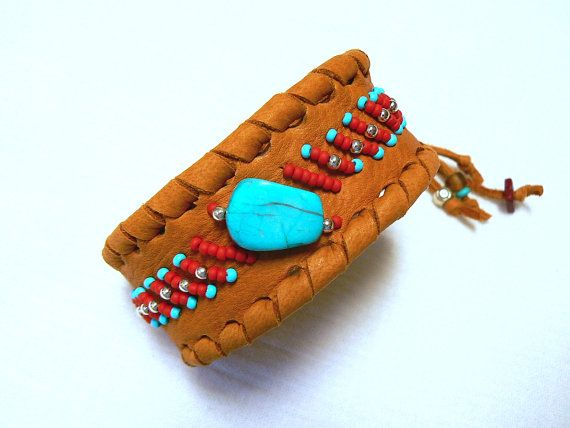 Beaded Deerskin Leather Cuff Bracelet. Turquoise & Sterling Silver, Unisex Adjustable Native American, Tribal Turquoise, Red