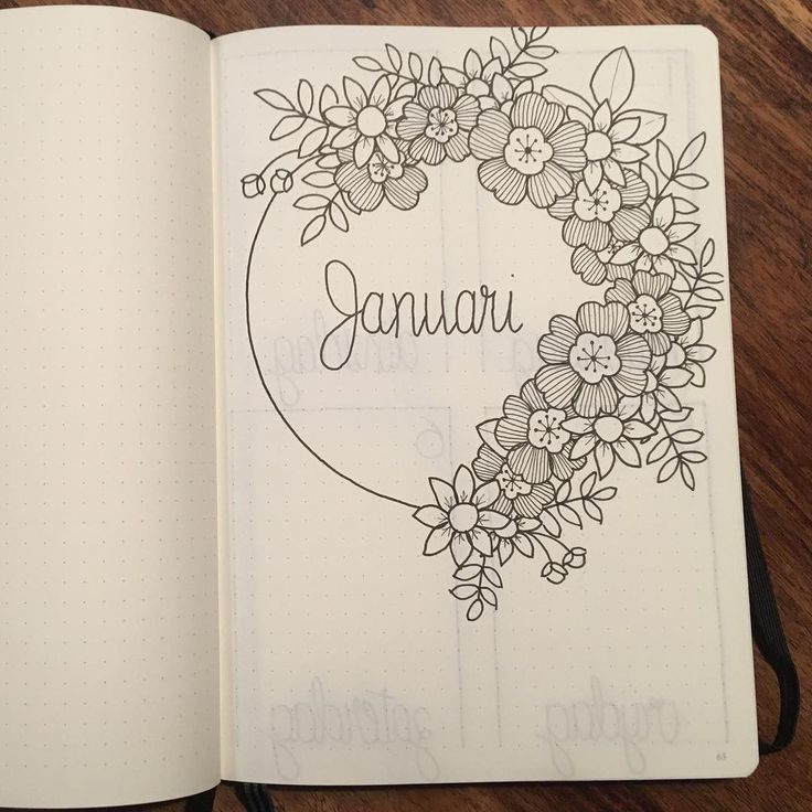 Bullet journal monthly cover page, January cover page, flower drawings. @myownjournalstyle