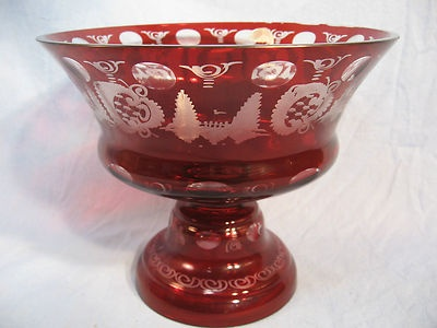 Vintage Egermann Ruby Red Cut to Clear Bohemian Glass ...