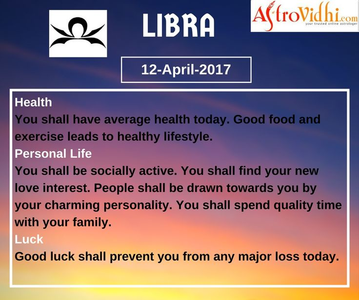Check Your Today's Libra Daily Horoscope (12-April-2017). Read your detailed horoscope at astrovidhi.com.