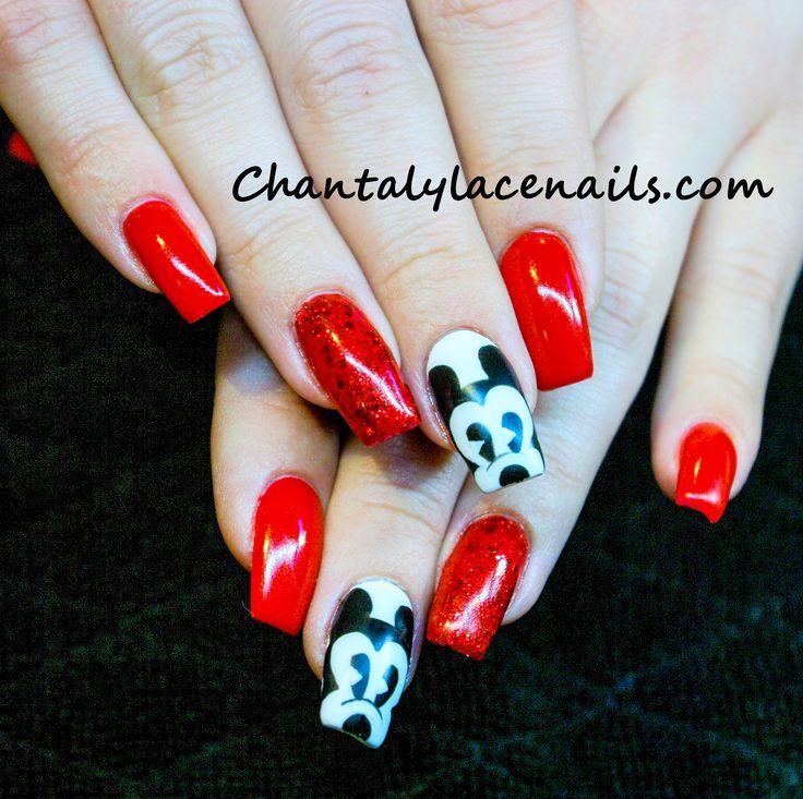 Disney nail art/red nails/mickey mouse nail art