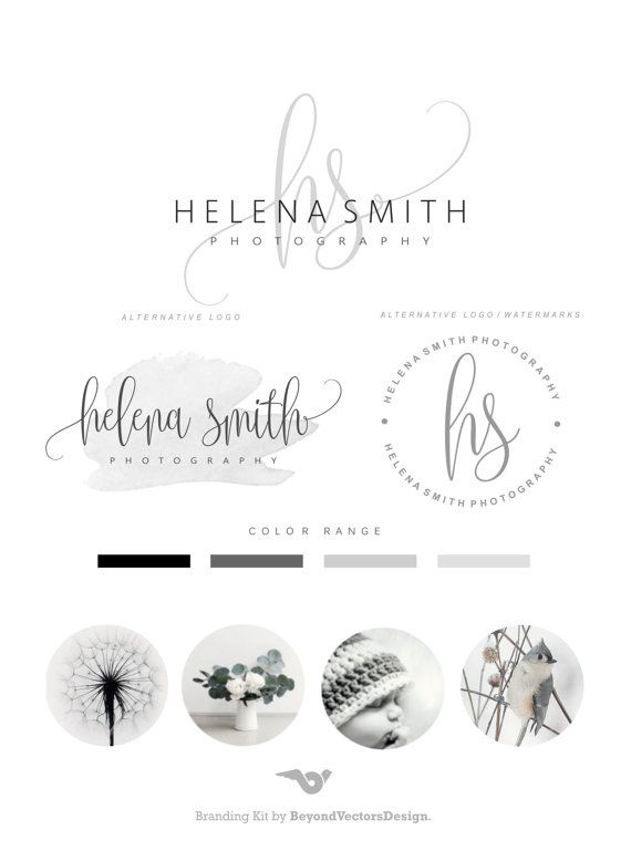 Premade Branding Kit - Photography Logo Set- Watermark - Handwritten initials - Elegant Signature -  Stamp Logo -  Logo Design Package 87