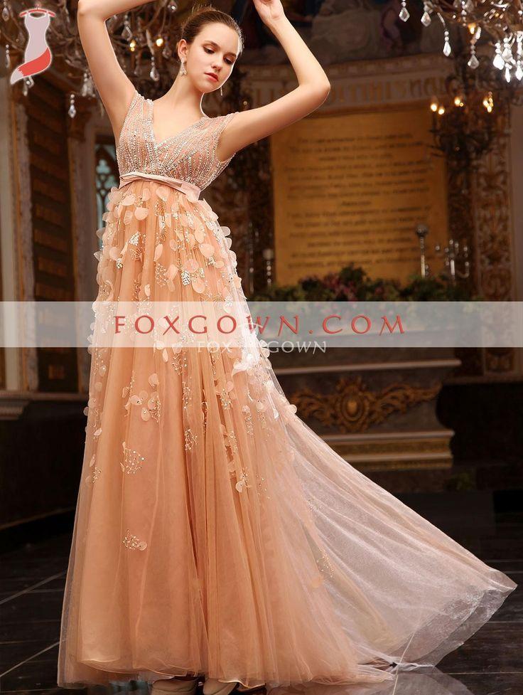 Pfirsich a-Linie lange Luxus formelle Abendkleid mit handgefertigten Blumen Chiffon Rock $344.99 Abendkleider