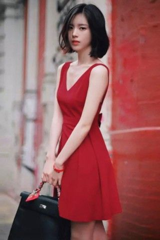 Red skater dress with bow back   USTrendy