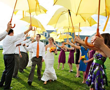 What a fun send off by the bridal party. Find umbrellas like these for rent and/or sale at splendorforyourguests.com ! Splendor for Your Guests | Rental Company | Weddings | Events | Shawls | Blankets | Umbrellas | Parasols | Fans