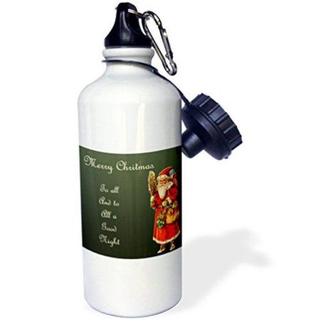 3dRose Merry Christmas to All with Victorian Era Santa Claus with Bag of Toys, Sports Water Bottle, 21oz, White