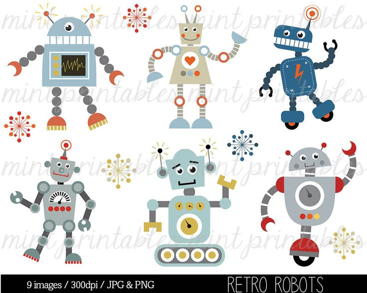 Retro Robot Clipart, Robot Clipart, Birthday Clipart, Robots Clipart, Robot Party, Invitation - Commercial & Personal - BUY 2 GET 1 FREE! by mintprintables on Etsy https://www.etsy.com/listing/180813266/retro-robot-clipart-robot-clipart
