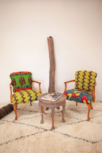 African Textiles Dutch Wax Resist Upholstered Chairs   eBay