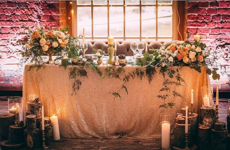 Sweetheart table We will have a black glitter table cloth, with black regal chairs, and lanterns on the floor