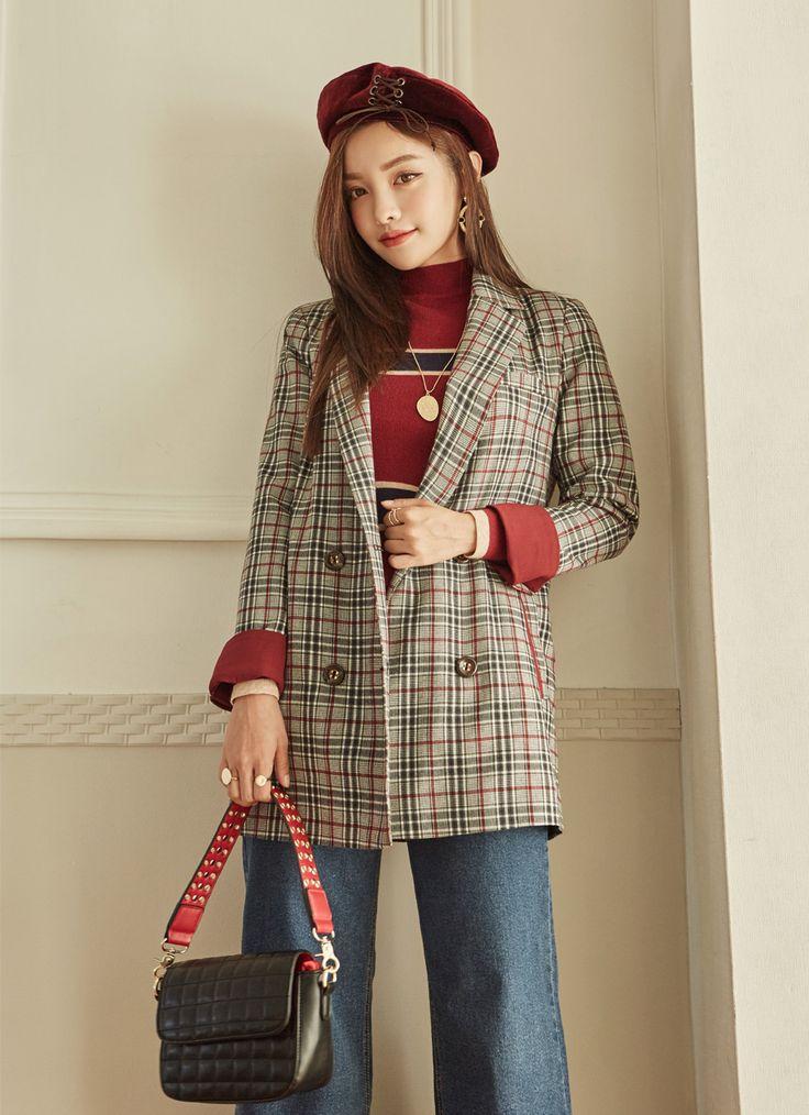 Plaid Longline Double Breasted Jacket CHLO.D.MANON   #stylish #jacket #plaid #koreanfashion #kstyle #kfashion #seoul #falltrend