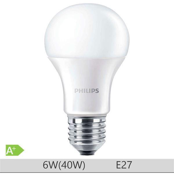 Bec LED Philips 6W E27 forma clasica A60, lumina neutra http://www.etbm.ro/tag/148/becuri-led-e27