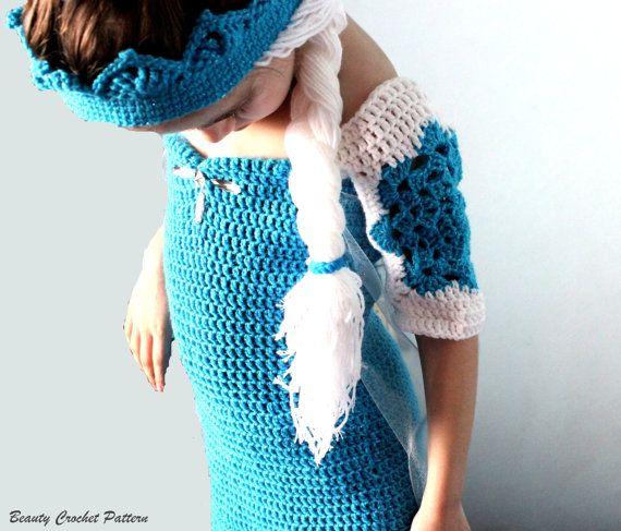 Crochet Pattern Ice Queen Dress Frozen by BeautyCrochetPattern