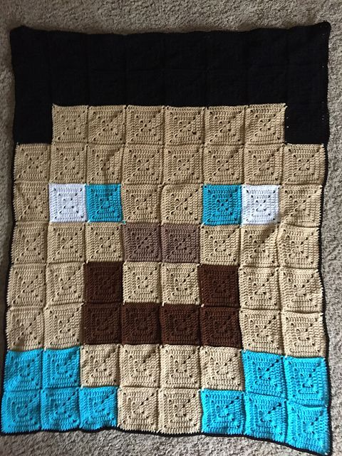 Crochet Patterns Galore - Steve Minecraft Blanket This gives me an idea for a Lego blanket