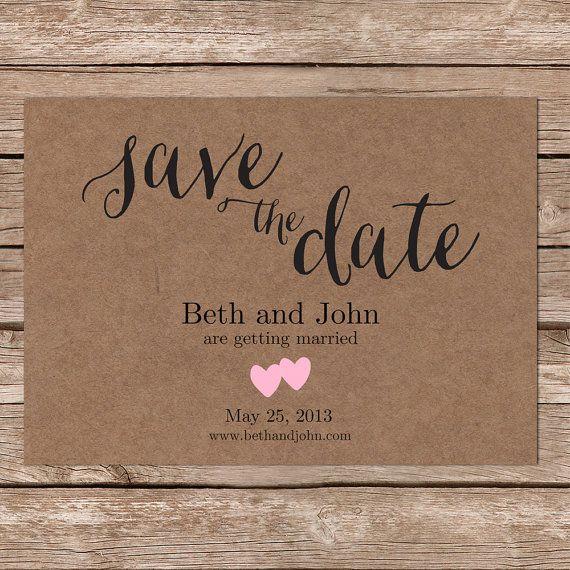 Printable Save The Date / kraft paper / Rustic Wedding / DIY Wedding / Simple Wedding